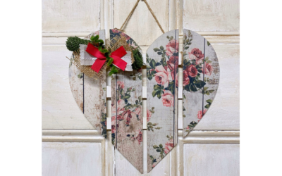 DIY Decoupaged with Redesign by Prima Tissue Paper on a Wood Heart Supply List