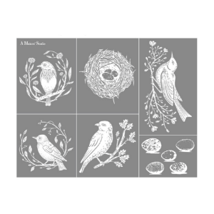 Birds mesh stencil with nests and eggs for DIY home projects