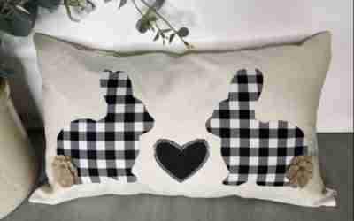 DIY Easter Bunny No Sew Pillow Using Iron On Fabric Sheets