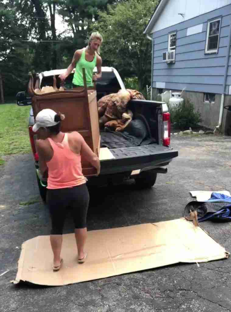 Unloading furniture from a truck