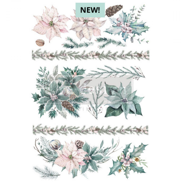 decor christmas transfer with evergreen floral design